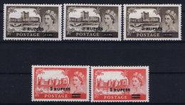 Oman British Postal Agencies , 1955 SG. 56 - 57 , Mi 56 - 57 MH/*  Different Types - Oman