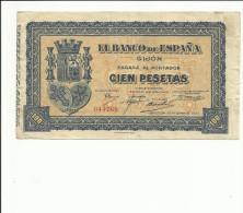 BILLETE 100 PESETAS  GIJON 1937 - [ 2] 1931-1936 : Repubblica