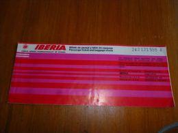 CB6 LC114 Billet ticket Iberia  Airlines Kinshasa Malaga Brusselas  Pub Sherry Brandy Pedro Domecq