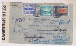 ENVELOPPE OUVERTE AVEC EXAMINER No  6123 TIMBRES DU PEROU En 1940!! - Peru