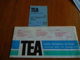 CB6 LC114 Billet ticket TEA Airlines Trans European Airways + boarding pass - Sabena Bruxelles Malaga