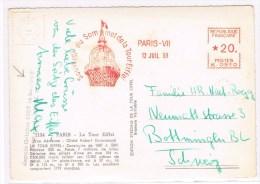 T7. EMA K0510. Souvenir Du Sommet De La Tour Eiffel Paris 12 Juil 58. CP De La Tour - Marcophilie (Lettres)