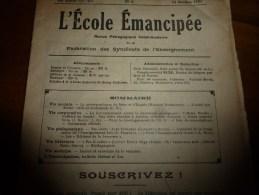 1931 le 11 oct :L�ECOLE EMANCIPEE (l� E E) Revue P�dagogique orient�e vers la bolch�visation du syst�me �ducatif