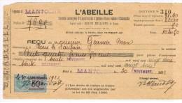 T7. Coupon D´assurance : L´Abeille. Timbre Fiscal 50c+ 30 Novembre 1922. - Api