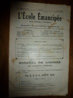 1931 le 7 juin. :L�ECOLE EMANCIPEE (l� E E) Revue P�dagogique orient�e vers la bolch�visation du syst�me �ducatif
