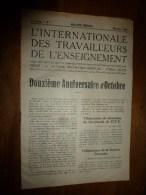 1929 novembre L�INTERNATIONAL des TRAVAILLEURS de l�ENSEIGNEMENT 12e anniversaire d�OCTOBRE