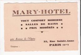 MARY HOTEL 32 RUE STE ANNEE PARIS 1 ER CARTE DE VISITE ANCIENNE - Visiting Cards