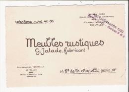 CARTE DE VISITE ANCIENNE DES ETS JALADE FABRICANT DE MEUBLES RUSTIQUES 14 BD DE LA CHAPELLE PARIS 18 E - Visiting Cards