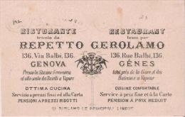 GENOVA (ITALIE) CARTE DE VISITE ANCIENNE DU RESTAURANT REPETTO GEROLAMO 136 VIA BALBI - Visiting Cards
