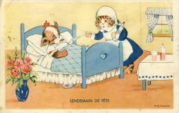 Chat Chien  Ledemain De Fête   Chatte Donant La Potion à Un Chien Malade Couché   Illustrateur M.B Cooper Cpa - Chats
