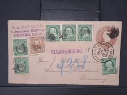 ETATS UNIS -Entier Postal En Recommandé De New York Pour L Allemagne En 1898 Aff Plaisant A Voir Lot P5168