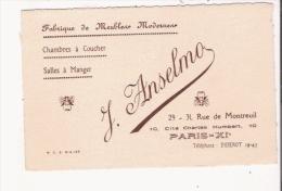 PARIS XI E CARTE DE VISITE ANCIENNE DES ETS J ANSELMO FABRIQUE DE MEUBLES MODERNES - Visiting Cards