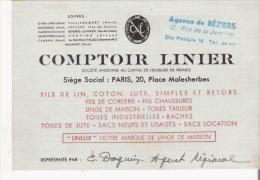 PARIS 20 PLACE MALESHERBES CARTE DE VISITE  ANCIENNE DU COMPTOIR LINIER (LIN COTON JUTE ) - Visiting Cards