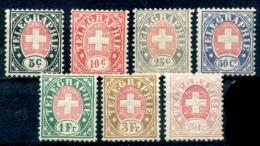 Svizzera-291 -1881 - Unificato: N. 13/19 (+) - Privi Di Difetti Occulti. - Telegrafo