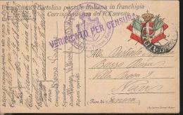 106) CARTOLINA FRANCHIGIA 20°AUTOREPARTO TIMBRO POSTA MILITARE - 1900-44 Vittorio Emanuele III