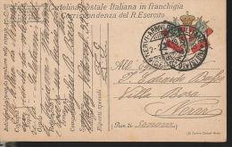 107) CARTOLINA FRANCHIGIA 52° DIVISIONE TIMBRO ARRIVO GENOVA NERVI - 1900-44 Vittorio Emanuele III