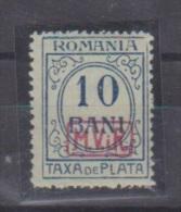 Roumanie //  Occupation All. // Taxe  //  N 2 // 10 Bani Vert //  NEUF Avec Trace De Charnière - Occupations