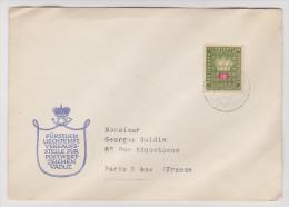 LIECHTENSTEIN VADUZ 22 JUIN 1951 POUR PARIS - Liechtenstein