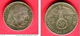 HIDENBURG    1939  ( KM 93 ) TB 7 - 2 Reichsmark