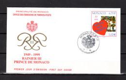"""Enveloppe 1er Jour De 1999 """" 20 ANS DE L'ASSOCIATION MONACO AIDE ET PRESENCE / COEUR """" N° YT 2191. Parfait état. FDC - FDC"""