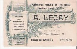 PARIS 3 E ARR CARTE DE VISITE ANCIENNE DE LA STE A LEGAY FABRIQUE DE RESSORTS EN TOUS GENRES - Visiting Cards