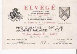 PARIS 9 E ARR CARTE DE VISITE ANCIENNE DES ETS ELVEGE (PHOTOGRAPHIE OPTIQUE MACHINES PARLANTES T S F ) - Visiting Cards