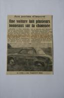 Coupure De Presse 1962 Accident Automobile RENAULT Dauphine Issoire - Documents Historiques