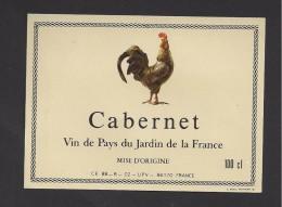 Etiquette De Vin De Pays Du Jardin De La France - Cabernet  100 Cl -  Thème Oiseaux, Coq - UPV à 86170 - Galli