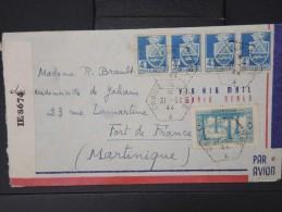 FRANCE- Oblitération Du Croiseur Gloire Sur Enveloppe D Algerie Pour La Martinique En 1944 +controle  A Voir  Lot P 5238 - Marcophilie (Lettres)