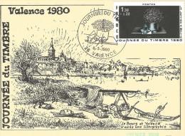 Carte postale Journ�e du timbre 1980 VALENCE  timbre La Lettre � M�lie tampon premier jour