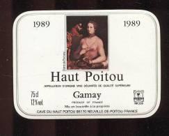 Etiquettes De Vin Du Haut Poitou Gamay  -   Diane De Poitiers  -  Thème Femme  -  1989 - Sin Clasificación