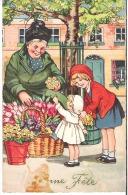 Marchande De Fleurs  Fillettes Petites Filles Tulipes  Bonne Fête - Illustrators & Photographers