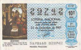 19533- JESUS' BIRTH PAINTING, LOTTERY TICKET, 1987, SPAIN - Billets De Loterie