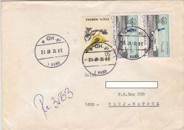 19640- PLANE, ORIOLE BIRD, STAMPS ON REGISTERED COVER, 1997, ROMANIA - 1948-.... Républiques