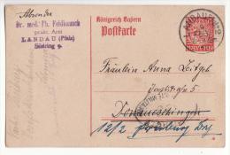 Allemagne   Carte Avec Entier Postal   Cachet De LANDAU  1919    Rhénanie Palatinat - Germany
