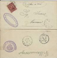 UMBERTO I 10 CENT 1887 VILLAMASSARGIA SARDEGNA NUMERALE SBARRE 2461 + TOPONIMO - Storia Postale