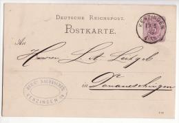 Allemagne   Carte Avec Entier Postal   Cachet De KENZINGEN  1888    Baden Württemberg - Germany