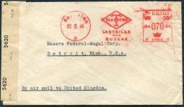 1943 Sweden Karlstad Aug. Huzell Diamond Lastbilar Bussar Franking Machine Meter Censor Cover - Detroit USA Via UK - Briefe U. Dokumente