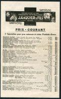Gaucher & Fils, Tours, France Prix Courant Animaux Et Ovins Dog Horse Cow Chicken Vaccins Veterinaires Price List - Advertising