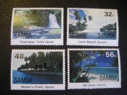 SAMOA Yvert 553/6 set unhinged ** Cat 2009: 4.75 Eur fall falls beach island islands geology geography