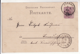 Allemagne   Carte Avec Entier Postal   Cachet De DÜRRHEIM  1889    Baden Württemberg - Germany