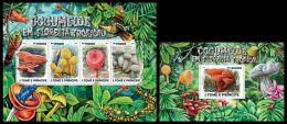 st15206ab S.Tome Principe 2015 Mushrooms 2 s/s Frog