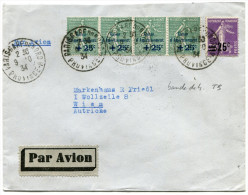FRANCE LETTRE PAR AVION DEPART PARIS-GARE DU NORD 9-10-34 PROVINCE A POUR L'AUTRICHE - 1927-1959 Briefe & Dokumente