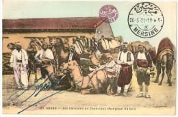 TURQUIE - CILICIE - ADANA - UNE CARAVANE DE CHAMEAUX CHARGEANT DU BOIS -  CACHET DE LA BASE MILITAIRE DE MERSINE - Turkey