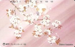 TARJETA DE JAPON DE UNAS FLORES DE 105 UNITS (290-380-1990) FLOR-FLOWER - Japón