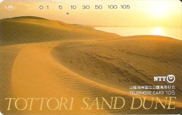 TARJETA DE JAPON DE TOTTORI SAND DUNE DE 105 UNITS (350-262-1990) SUNSET-DESIERTO-DESERT-PUESTA DE SOL - Japón