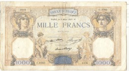 1000 France Cérès Et Mercure 1937 - 1871-1952 Circulated During XXth