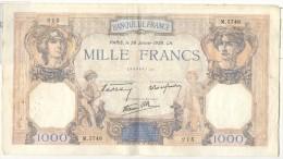 1000 France Cérès Et Mercure 1939 - 1871-1952 Circulated During XXth