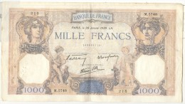 Billet 1000 Francs France Cérès Et Mercure 1939 - 1871-1952 Antichi Franchi Circolanti Nel XX Secolo