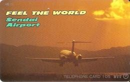 TARJETA DE JAPON DE UN AVION EN SENDAI AIRPORT DE 105 UNITS (410-342-1990) PLANE-SUNSET-PUESTA DE SOL - Japón
